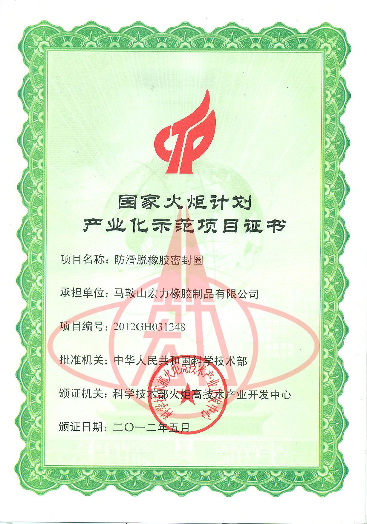 国家火炬计划产业化示范项目证书(防滑)